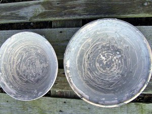 Wattlefield Pottery - Andrea Young - Bisque fired bowls for clay reclaim