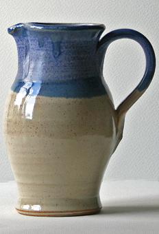 Wattlefield Pottery - Andrea Young - Jug shino/blue
