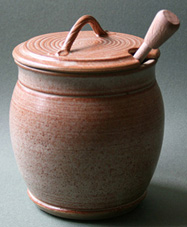 Wattlefield pottery - Andrea Young - Honey-pot with dibber.